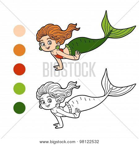 Coloring Book For Children (little Girl Mermaid)