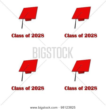 Class of 2028 Red on White Pattern Large
