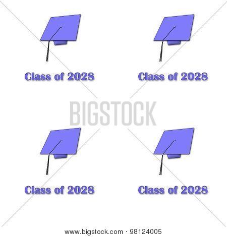 Class of 2028 Purple on White Pattern Large
