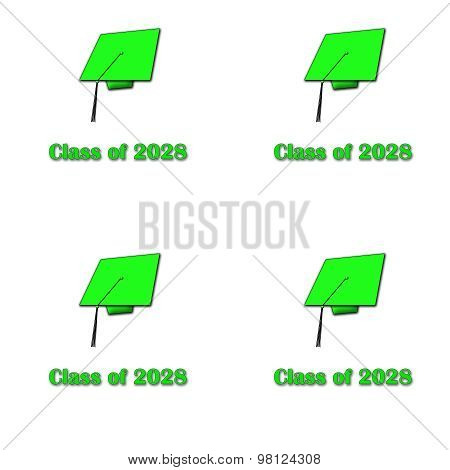 Class of 2028 Green on White Pattern Large