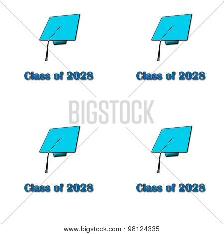 Class of 2028 Blue on White Pattern Large