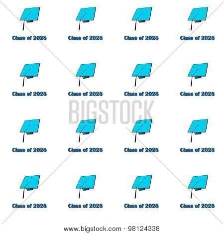 Class of 2028 Blue on White Pattern Medium