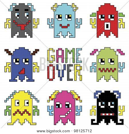 Pixelated robot emoticons with game over sign inspired by 90's computer games showing emotions