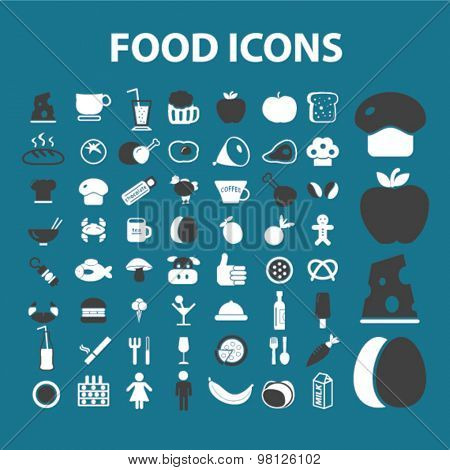 food, restaurant, cafe, grocery, drink flat isolated icons, signs, illustrations set, vector for web, application