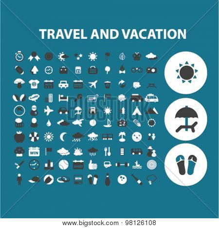 travel, vacation, tourism flat isolated icons, signs, illustrations set, vector for web, application