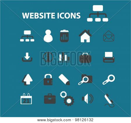 website, internet flat isolated icons, signs, illustrations set, vector for web, application