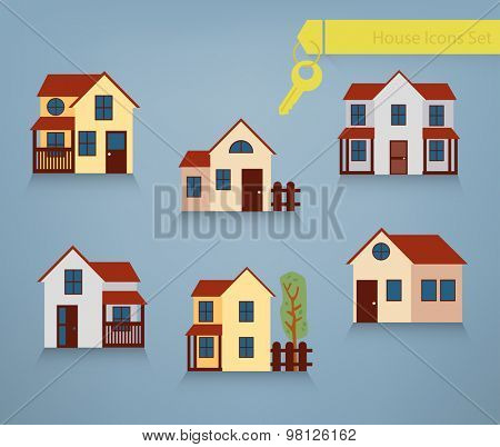 Collection of six houses for renting, sale and property concepts