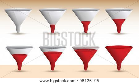 Timeline series of a funnel emptying or filling with a red liquid in a sequence of eight levels, vector illustration