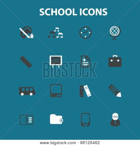 school, lesson, teacher flat isolated icons, signs, illustrations set, vector for web, application