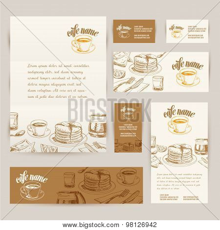 Vector hand drawn breakfast and branch backgrounds set.
