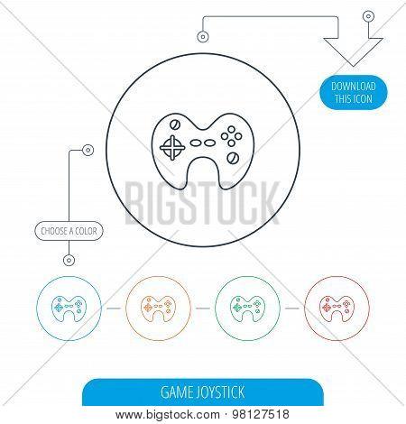 Joystick icon. Video game sign.