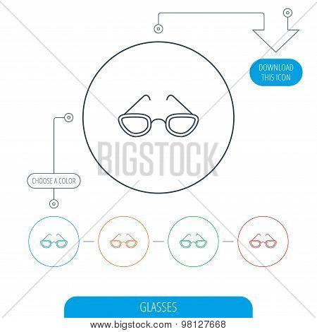 Glasses icon. Reading accessory sign.