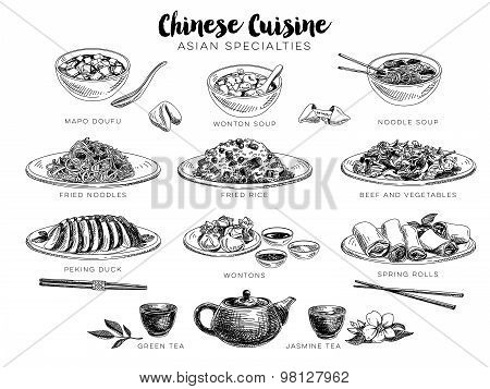 Vector hand drawn illustration with chinese food.
