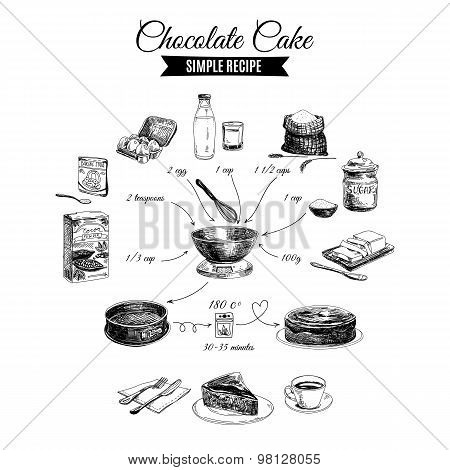 Vector hand drawn chocolate cake illustration. Sketch.