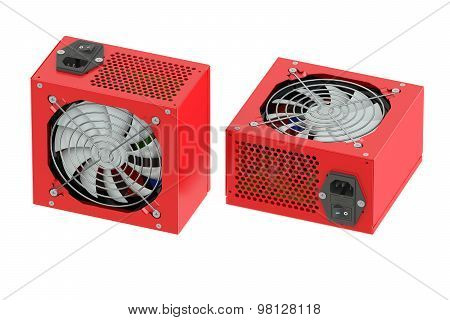 Two Red Computer Power Supply Units