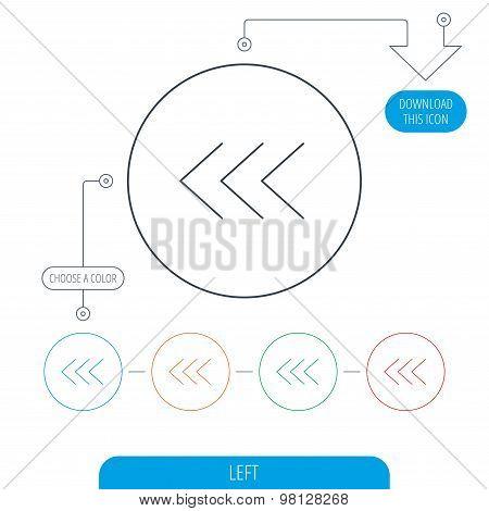 Left arrow icon. Previous sign.
