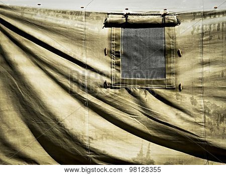 Detail Of Military Tent With Window