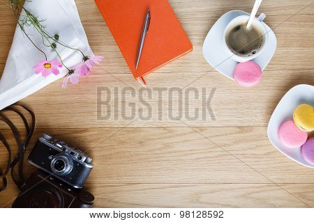 Breakfast With Open Diary, Background With Place For An Inscription