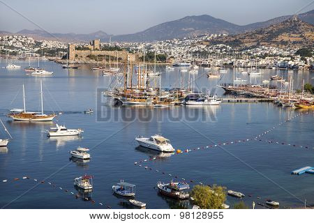 High Angle View Of Bodrum Castle On Turkish Riviera