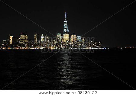 Lower Manhattan In New York City At Night