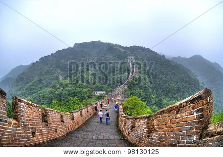 Hdr Image (high Dynamic Range) Of The Great Wall Of China On Fog