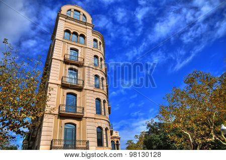 A Typical Traditional European Building In Barcelona In Hdr Sky