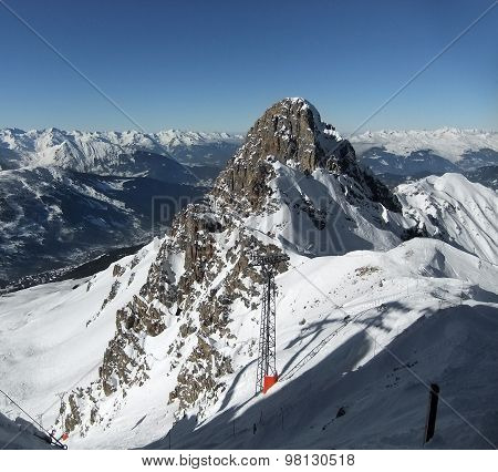 Snowy peak in the French Alps