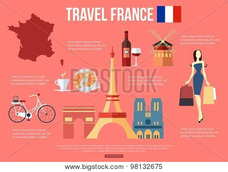 France travel background with place for text. Set of colorful flat icons, France symbols for your de
