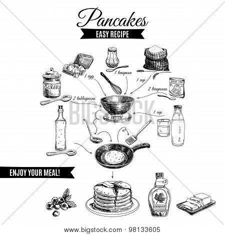Vector hand drawn pancakes illustration.