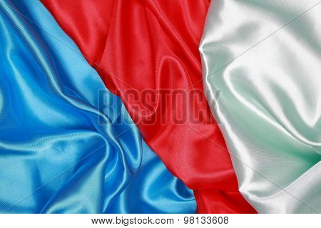 Blue And Red And Light Green Silk Texture Satin Velvet Material