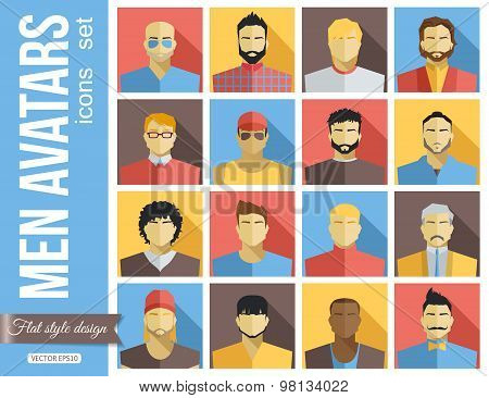 Set of Men Avatars Icons. Colorful Male Faces Icons Set. Flat Style Design.