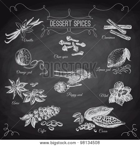 Vector hand drawn set with Dessert Spices. Vintage illustration.
