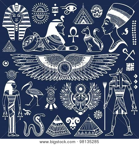 Set of Vector isolated Egypt symbols