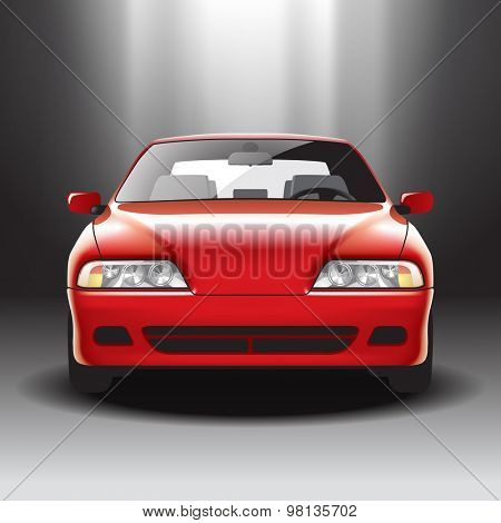 Illuminated red car on the exhibition. Vector illustration