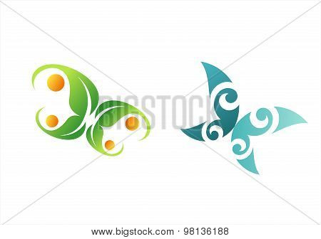 butterfly logo, abstract butterfly, leaf nature beauty spa symbol icon vector design