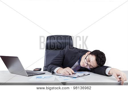 Caucasian Worker Sleeping On Desk Isolated