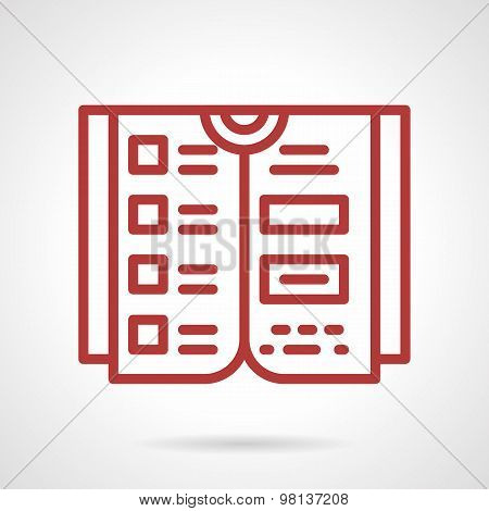 Reference book red line vector icon