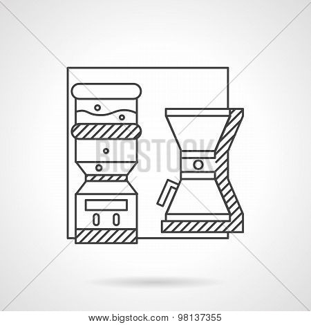 Office appliances line vector icon