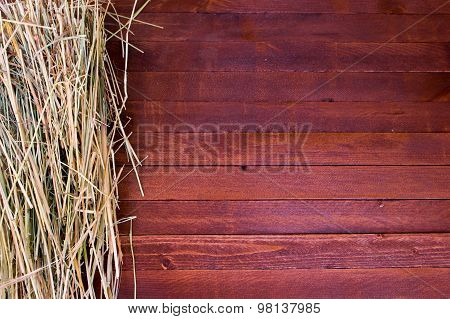 Golden Autumn Fall Hay Straw Texture Background Wallpaper, On A Wooden With Copy Space