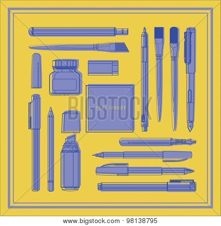 Paint and writing tools collection monotone