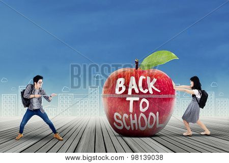 Students And Apple With Text Of Back To School