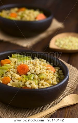 Wheat Grain and Savoy Cabbage Stew