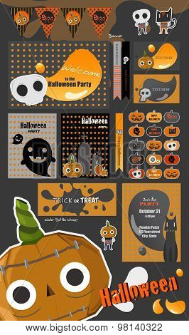 Set Of Happy Halloween Badges and Labels.