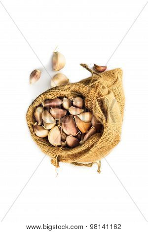 Cloves Of Garlic In A Ramie Sac
