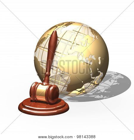 Wooden Gavel And Golden Globe Isolated Over White