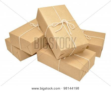 Brown Paper Covered Parcels Tied With String
