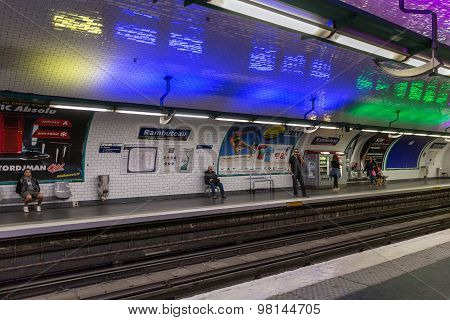 Travellers Waiting At Subway Station Rambuteau  In Paris, France