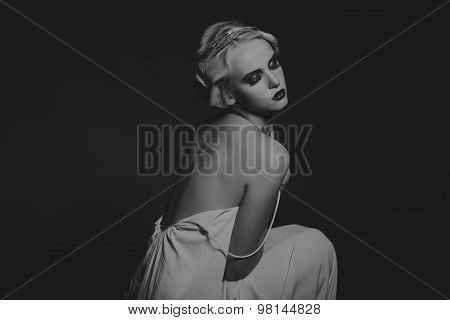 Portrait of a girl in retro style, vintage.