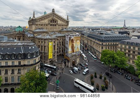 Aerial View Of Paris With Opera Building