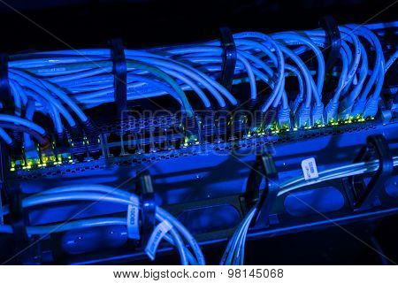 Network cables in switch in datacenter
